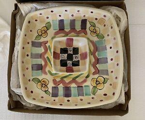 "Vicki Carroll Pottery Chip and Dip Platter 12"" ~ Bon Appetit ~ Signed '97"