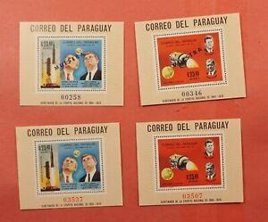 2 SPECIMEN MUESTRA OVERPRINT S/S + 2 REG 1969 PARAGUAY JFK #C321-2 MNH