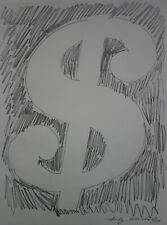 Fine unique Pop Art drawing, Dollar, signed Andy Warhol w COA