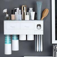 Automatic Toothpaste Dispenser Wall Mount Toothbrush Holder Bathroom Storage Set