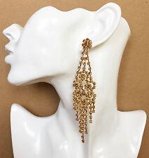 Splendidi Luccicanti CHAMPAGNE Diamante Orecchini Pendenti in Oro Tono * NUOVA *