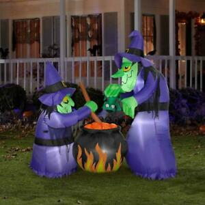 Gemmy 6'H X 4'W Airblown Halloween Inflatable Double Bubble Witches With Cauldro