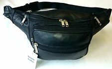 Travel Bum Bag Soft Real Leather Black Holiday Festival Money Pouch 003