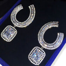 18k White Gold GF Earrings made w/ Swarovski Crystal Baguette Stone Gorgeous