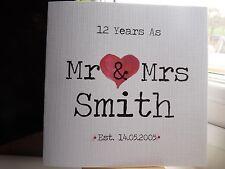 Handmade Personalised Mr & Mrs Wedding Anniversary Card 1st 10th 12th 13th etc