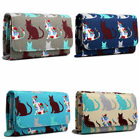 Laides Girls Designer Canvas Print Flapover Purse Cat Small Purse Wallet Clutch