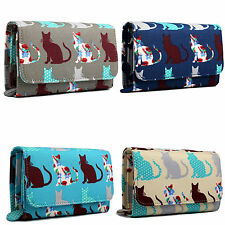 Canvas Ladies Girls Print Flapover Purse Cat Small Purse Fashion Wallet Clutch