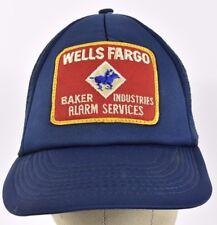 Navy Blue Wells Fargo Baker Industries Patch Trucker hat cap Adjustable Snapback