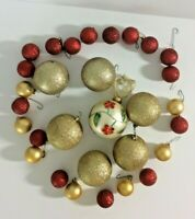 Christmas Ornament Lot Gold and Red Glitter Matte Balls Embellished