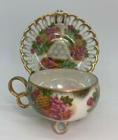Royal Sealy China IRIDESCENT/LUSTERWARE Tea Cup Saucer  Gold Footed Tropical