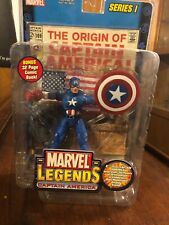 Captain America Marvel legends series 1 w base stand & comic SEALED ToyBiz 2002
