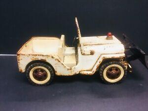 Vintage 1960s Tonka 435 Jeep White Wrecker Truck Pressed Steel Original Paint