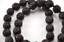"Vintage Chinese Deep Carved Black Red Cinnabar Necklace Flower Filigree 24"""
