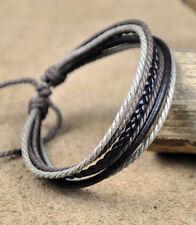 Brown Mens Unisex Surfer Vintage Leather Hemp Braided Bracelet Wristband