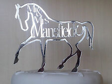 Wedding Cake topper horse shape,personalised,Mr & Mrs Surname,beautiful