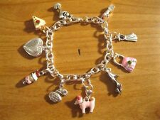 "NEW 10 SILVER/PINK CHARM ""GIRLY GIRL"" INSPIRED CHARM BRACELET -Valentine's Day!"