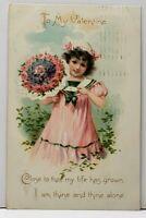 Valentine Sweet Girl Pink Dress Sailor Collar Flower Bouquet 1907 Postcard A6