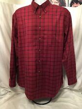 Men's Brooks Brothers Original Polo Shirt Red Plaid  Cotton Non Iron Size L
