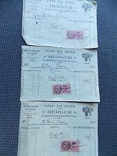TROIS  ANCIENNES FACTURES VINS EN GROS BERGER FAURE 1937 AVEC FISCAUX