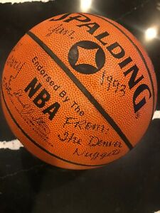 Autographed NBA Game Ball 1993 Denver Nuggets,DAN ISSEL,DIKEMBE MUTOMBO 10 MORE