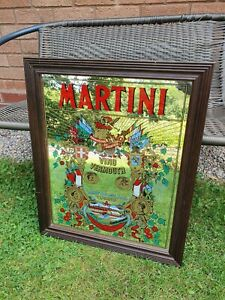 Vintage Large Martini Pub Advertising Mirror Bar Man Cave