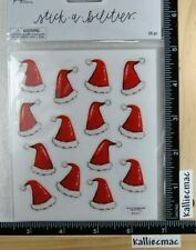The Paper Studio SANTA HATS Sticker Strips STICKABILITIES GLITTER 2 STRIPS