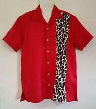 Rockabilly Mens Red Leopard Garage Shirt Hot Rod Bowling emporium44.com > Size M