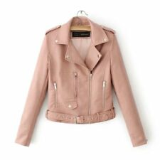 Women's Faux Leather Lapel Asymmetrical Zip Belted Jacket Coat Moto Rock Punk US