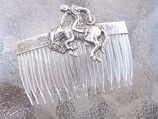 Vintage Cowboy Bucking Bronco Antiqued Silver Plated Clear Comb Made in USA 022