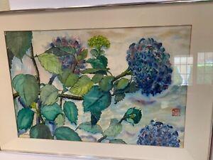 Irving Affias signed watercolor painting oriental seal mark Nasturtiums biz card