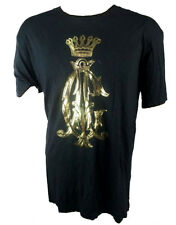 Christian Audigier uomo LOGO TIMBRO T-Shirt in nero e oro (cat. 003)