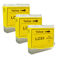 3 Yellow LC51 HIGH YIELD LC51Y Ink Cartridge Compatible for BROTHER Printer