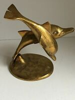 Vintage Brass Dolphin With Calf Figurine Nature Wildlife Ocean Environment Gift