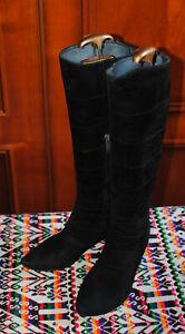 Bottes femme BOCAGE, noir, cuir retourné, pointure 38, talon 4.5 cm.