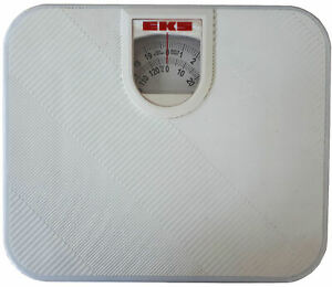 White Mechanical Bathroom Scales Set, Extra Wide Weighing Scale, 130 kg 20 stone