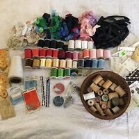 HUGE MIXED ESTATE LOT Vintage Sewing Supplies Thread Ribbon Buttons Needles