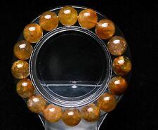11.5mm Natural Gold Quartz Golden Hair Rutilated Crystal Bracelet