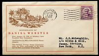 UNITED STATES 1932 DANIEL WEBSTER CACHETED FIRST DAY COVER HANOVER CANCEL