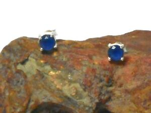 Round  SAPPHIRE  Sterling  Silver  925  Gemstone Stud Earrings  -  5 mm