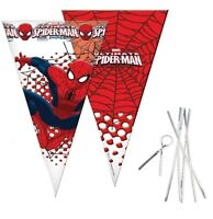 Spiderman Sweet Cello Cone Loot Bags & Twist Ties Birthday Party Length 40cms