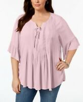 NEW Style & Co Peasant Blouse Plus Size 2X Pintuck Ruffled-Sleeve $56