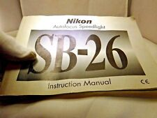 Nikon Speedlight Flash SB-26 instruction Owners Manual Guide (EN) English