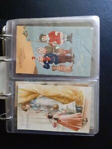 Vintage Postcard Album. 54 Birthday, Christmas, Easter Cards.