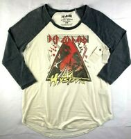 NWT NEW Womens Lucky Brand Def Leppard Hysteria 3/4 Sleeve T-Shirt Top Tee M