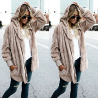 Women Teddy  Pocket Fluffy Coat Fleece Fur Jacket Outerwear Hoodie S-2XL