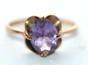 9 ct yellow gold large oval amethyst claw set cocktail ring size M 1/2