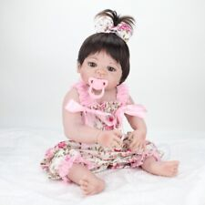 "Full Body Silicone Vinyl 22"" Lifelike Reborn Dolls Toddler Girl Doll Realistic"