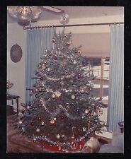 Vintage Photograph Beautiful Christmas Tree in Retro Living Room