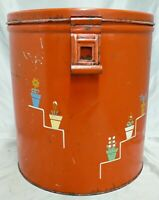 VINTAGE PAINTED RED TIN FLOUR CONTAINER WITH PAINTED FLOWERS