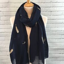 Pashmina Scarf Wrap Shawl Navy Feather Embroidered Light Weight